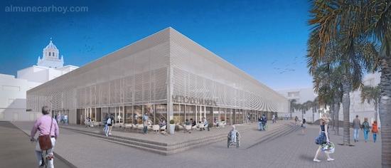Recreación del Nuevo Mercado de Almuñécar con la Avenida de Europa