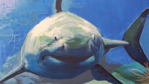 Detalle del tiburón en el grafiti del Acuario de Almuñecar