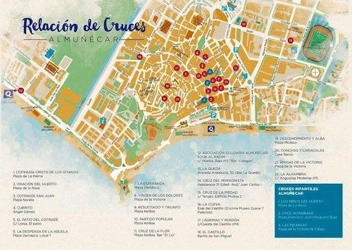 Mapa de las  Cruces de Mayo de Almuñécar