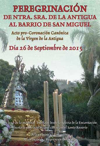 La Patrona de Almuñécar Virgen de la Antigua peregrina este sábado al Barrio de San Miguel.