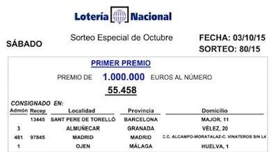 Premio es 1.000.000 de € al numero de Lotería en Almuñécar
