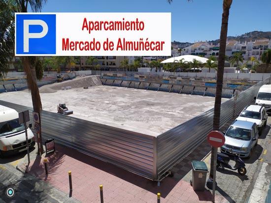 Solar del antiguo Mercado de abastos de Almuñécar donde va el nuevo aparcamiento provisional hasta que se construya el Nuevo Mercado de Almuñécar.